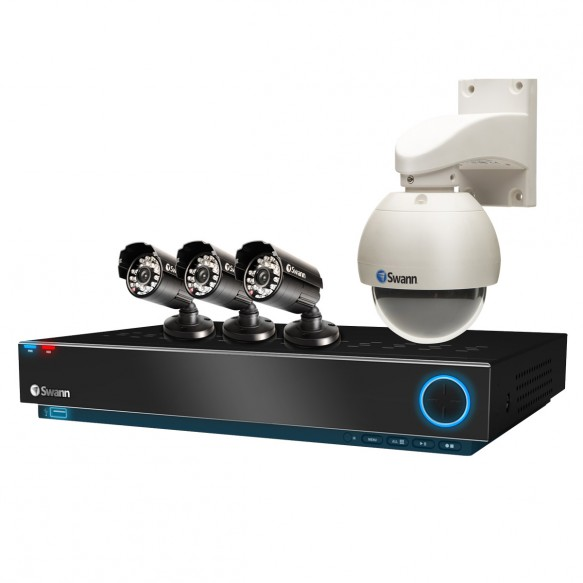 SWDVK-D21C22 8 Channel D1 Real Time Security System, 3 x 600 TVL Cameras & 700TVL Pan/Tilt Dome Camera -