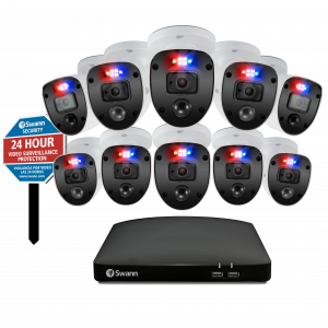 SODVK-16468010SLY Enforcer 10 Camera 16 Channel 1080p Full HD DVR Security System & Security Yard Stake Sign -