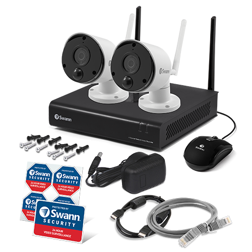 R-SWNVK-490KH2 2 Camera 4 Channel 1080p Wi-Fi NVR Security System  -
