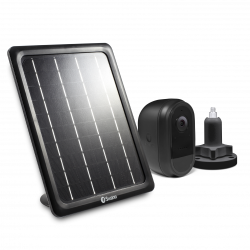SWIFI-CAMBSOLSTD Wireless Black 1080p Battery Security Camera with Solar Charging Panel & Outdoor Stand -