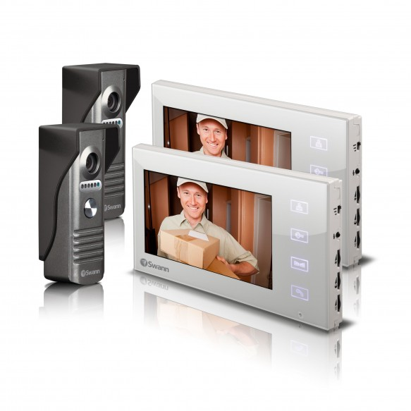 "SWHOM-DP880CPK2 Doorphone Video Intercom Color Camera with 7"" LCD Screen - Twin Pack Bundle -"