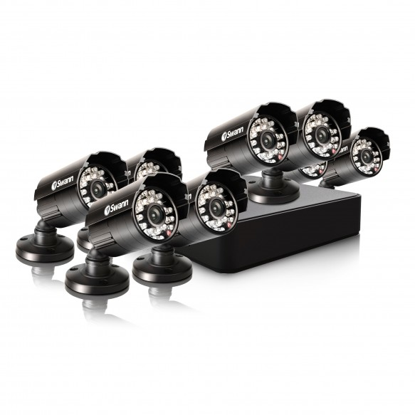 Compact Security System - 8 Channel Digital Video Recorder & 8 Cameras
