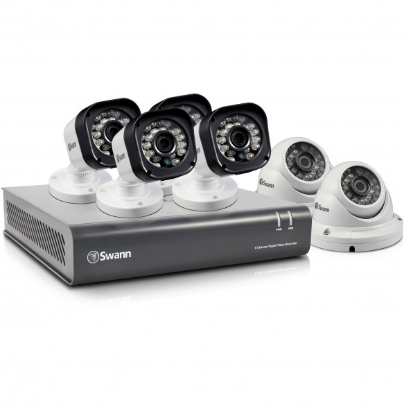 SWDVK-8720T4D2 Swann 8 Channel Security System: 720p HD DVR-1580 with 1TB HDD, 4 x PRO-T835 720p Cameras & 2 x PRO-T836 720p Cameras -