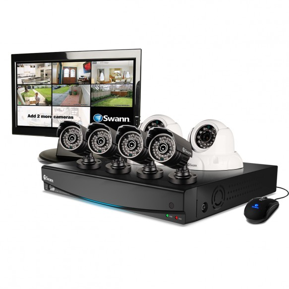 "SWDVK-834256M DVR8-3425 8 Channel 960H Digital Video Recorder, 4 x PRO-735 Cameras, 2 x PRO-736 Cameras & 15"" LCD Monitor -"