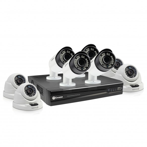 SWNVK-874008B NVR8-7400 8 Channel 4MP Network Video Recorder with 4 x NHD-819 Dome 4MP Cameras & 4 x NHD-815AF Bullet 3MP Cameras (Plain Box Packaging) -
