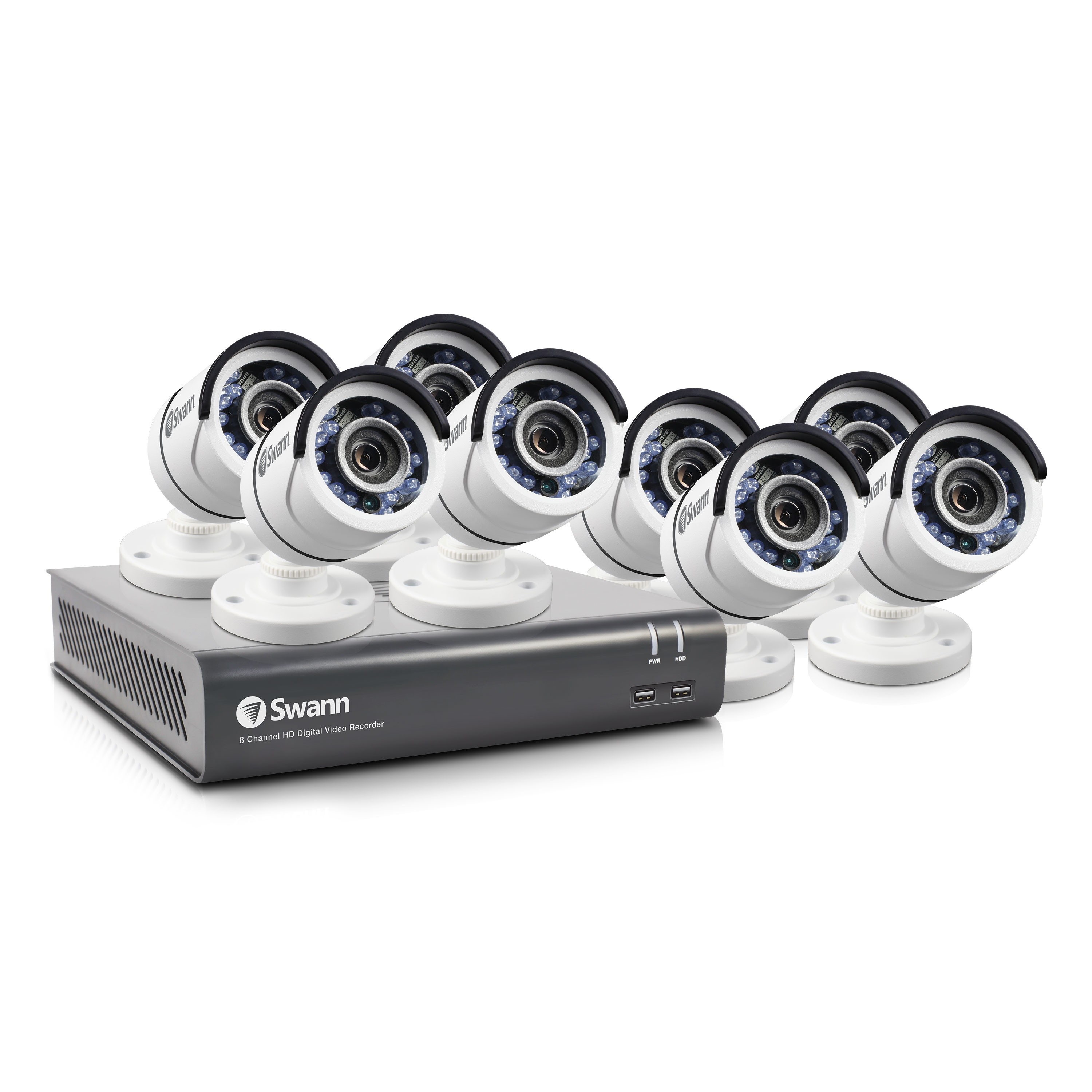 SWDVK-845758T Swann 8 Channel Security System: 1080p Full HD DVR-4575 with 2TB HDD & 8 x 1080p PRO-T853 Bullet Cameras -