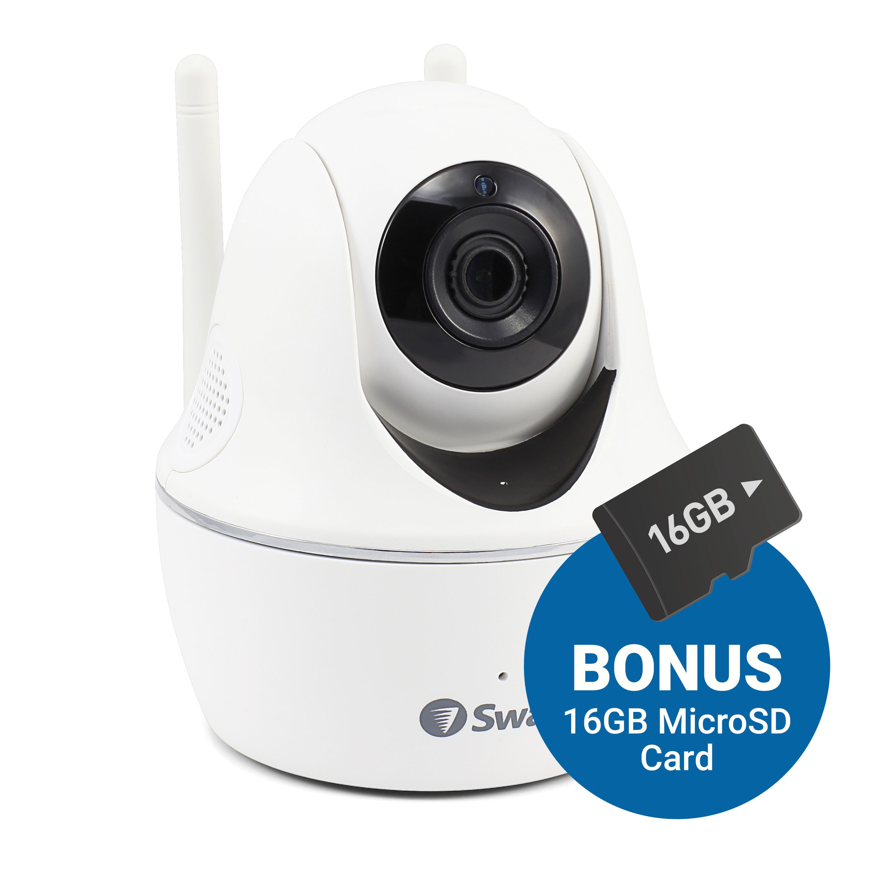 Swann Wireless Pan & Tilt Security Camera: 1080p Full HD Camera with Audio & Remote Control via App with 16GB Micro SD Card - PTCAM16G