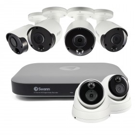 6 Camera 8 Channel 3MP Super HD DVR Security System 2TB HDD, Heat & Motion Sensing + Night Vision