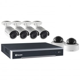 Swann 8 Channel Security System: 5MP Super HD NVR with 2TB HDD, 4 x 5MP Bullet Cameras & 2 x 5MP Dome Cameras with PoE Connectivity