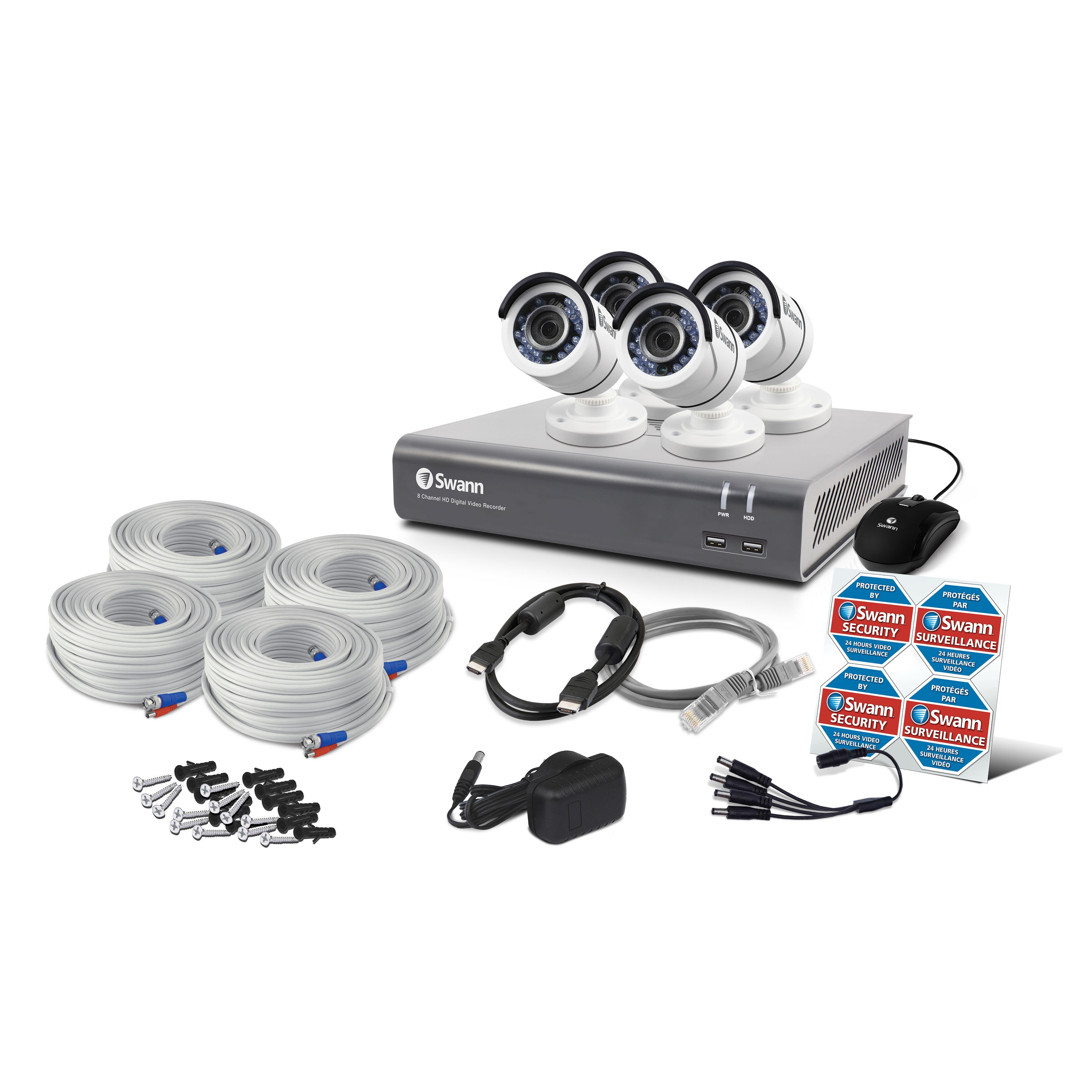 Swann 8 Channel Security System 1080p Full Hd Dvr 4575 With 1tb Hdd Whole House Cable Wiring 4 X Pro T853 Canada