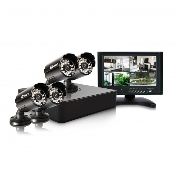 """SWDVK-415254M DVR4-1525 4 Channel 960H Digital Video Recorder with 4 x PRO-615 Cameras & 7"""" LCD Monitor -"""