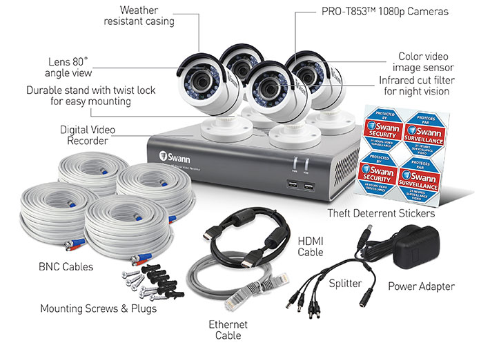 Swann 8 Channel Security System: 1080p Full HD DVR-4575 with 2TB HDD & 4 x 1080p PRO-T853 Bullet Cameras