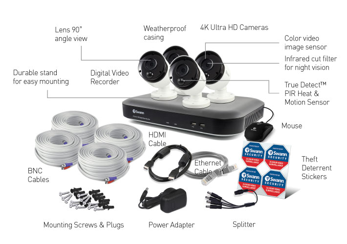 Swann 8-Channel 4K UHD DVR with 2TB HDD & 4 4K Outdoor Night Vision Bullet Cameras