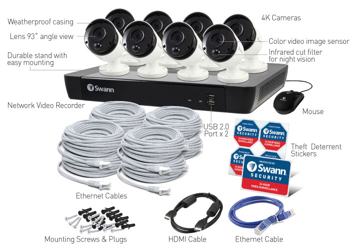 16 Channel 4K Ultra HD NVR Security System USA