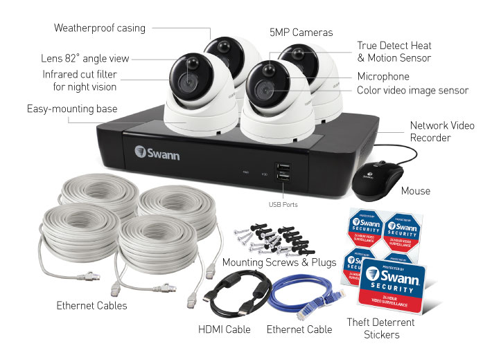 Swann 8-Channel 4K UHD NVR with 2TB HDD & 4 5MP Outdoor Night Vision Dome Cameras with Audio